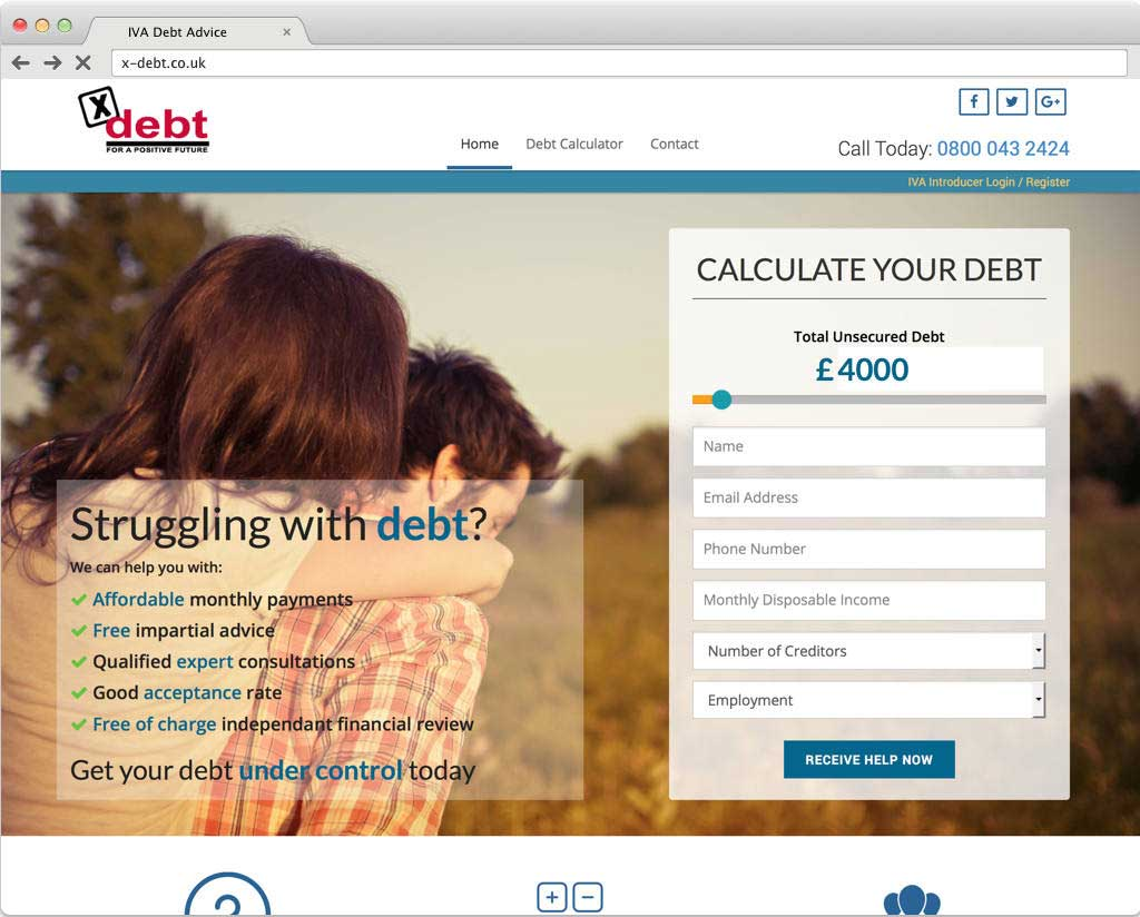 X-Debt website design